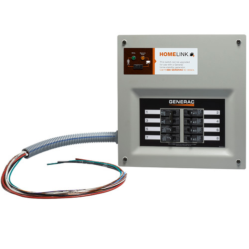 Generac HomeLink 6853 30A 6-8 Circuit Nema 1 Upgradeable Manual Transfer Switch with Resin Plug-in Box, Conduit & 30A Plug