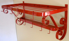 "Pot Pan Rack Retro Red French Style Wall Mount 32"" wide"