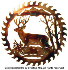 Mule Deer in Snow Saw Blade Metal Wall Art