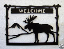 Moose Welcome Sign Log Cabin Decor
