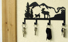 Moose Mountains Rustic Metal Art Lodge Decor Key Holder