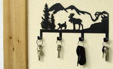 Moose Mountains Rustic Metal Art Lodge Decor Key Holder