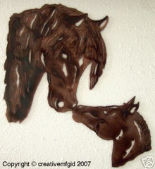Mare and Colt Western Metal Wall Art