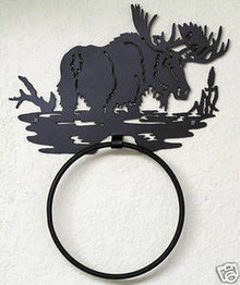 Moose Bull in Pond Towel Ring Holder