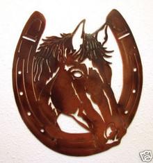 Horse in Horseshoe Metal Wall Art