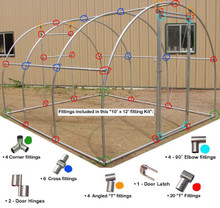 Greenhouse Fitting Kit 10' X 12' (3 Purlin)