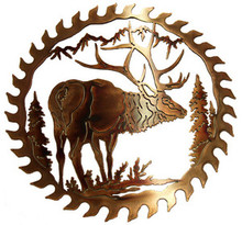 Elk Saw Blade Wildlife Decor Metal Wall Art