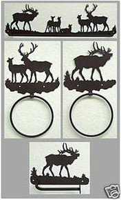 Elk Bathroom Set Rustic Lodge Wildlife Metal Art Decor