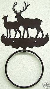 Elk Bull and Cow in Hills Metal Art Towel Ring