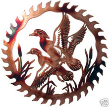 Ducks in Flight Saw Blade Metal Wall Art