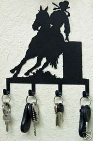 Cowgirl Barrel Racer Horse Western Key Holder