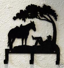 Cowboy Tree Western Metal Art Key Holder
