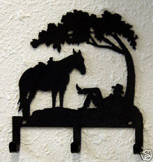 Cowboy Tree Western Metal Art Key Holder