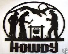 Cowboy Western Campfire Metal Art Welcome Sign