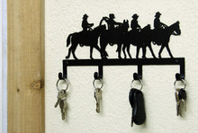Cowboy Riders Western Metal Art Key Holder
