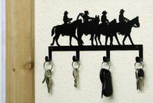 Cowboy Riders Western Metal Art Key Holder