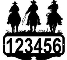 Cowboy Riders Western  Custom Address Sign