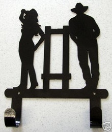 Cowboy Cowgirl Towel Robe Hook Metal Art