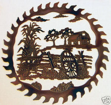 Country Harvest Saw Blade Metal Wall Art