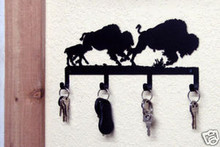 Buffalo Herd Metal Art Key Holder