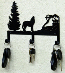Howling Wolf Metal Art Key Holder