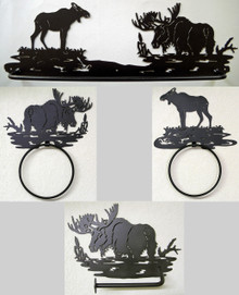 Moose Bathroom Set Rustic Lodge Wildlife Metal Art Decor