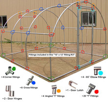 "Greenhouse Fitting Kit for 1""EMT 10' X 12' (3 Purlin)"