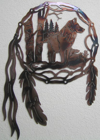 Wolf Dream Catcher Metal Wall Art