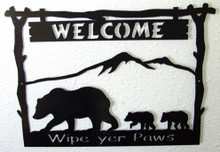 Wipe Your Paws Bear and Cubs Welcome Sign