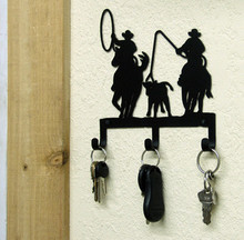 Team Roping Cowboys Western Key Holder