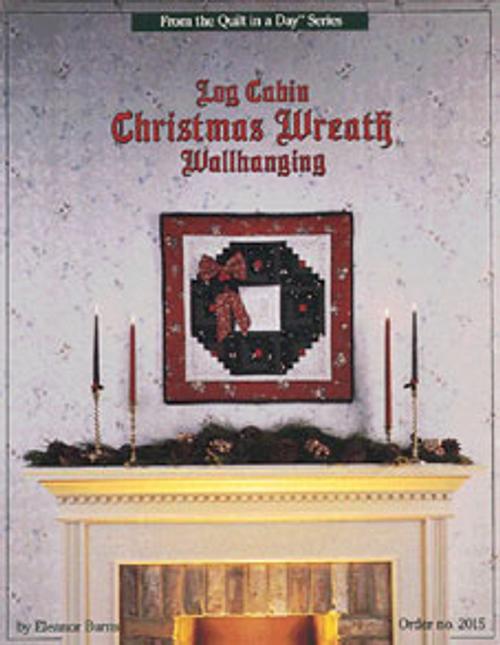 Log Cabin Christmas Wreath Wallhanging