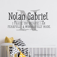 Nursery Wall Decor - Personalized Nursery Wall Decal - Monogram for Nursery - Boy Name Wall Decal - Scripture Wall Decal - Psalm 139