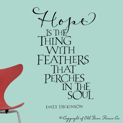 Hope is the thing with feathers - wall decal