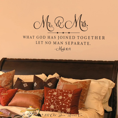 Mr And Mrs. What God Has Joined Together   Wall Decal