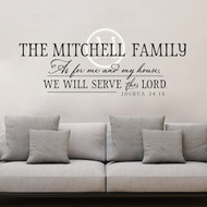 Family Name Wall Decal - As for me and my house - Joshua 24 - Christian Wall Decal - Family Monogram Wall Sticker