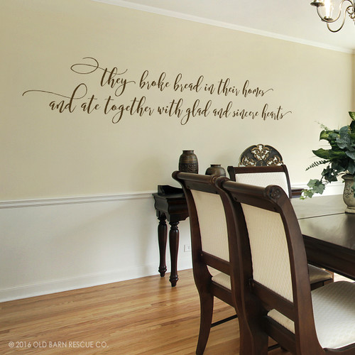 Christian wall art they broke bread in their homes decal for Best wall decor for dining room