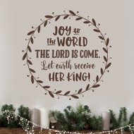 Joy to the World in Wreath Closeup Wall Decal