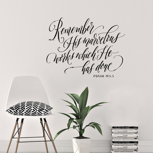 Scripture Wall Decal - Remember His Marvelous Works