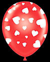 "11"" Red Round Latex White Hearts Around 50 bag #99117-11"