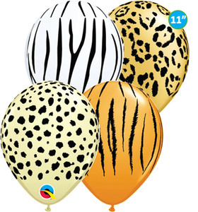"11"" Qualatex Safari Print Balloon Assortment 50 Bag #12568"