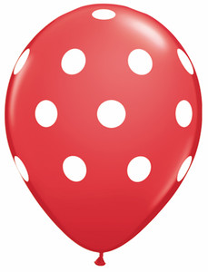 "11"" Qualatex Red Big Polka Dots 50ct #37208"
