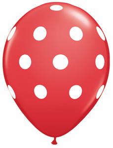 "11"" Qualatex Red Big Polka Dots 50ct #37208"