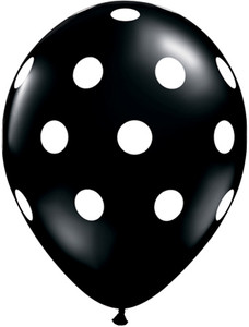 black balloon white polka dots