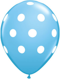 "11"" Qualatex Pale Blue w/ White Polka Dots 50ct #42945"