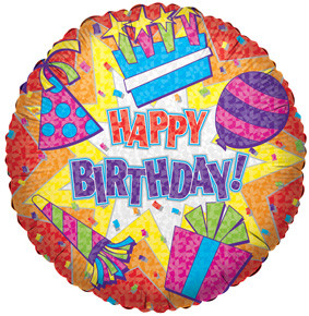 "18"" Happy Birthday Color Burst Balloon 1ct #17607"