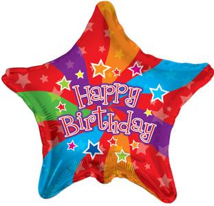 "19"" Birthday Colors Star Shape Balloo 1ct #17755"
