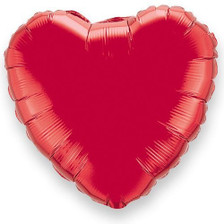 metallic red heart balloons