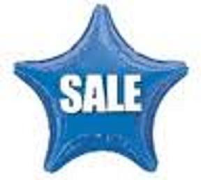 "**Special Price** 18"" Metallic Blue Star ""SALE"" Print 1ct #14505 Buy 10 or more .45c each"