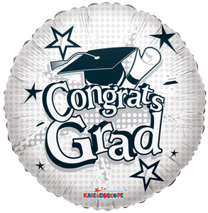 "18"" Congrats Grad Balloon White Stars 1ct #85159"