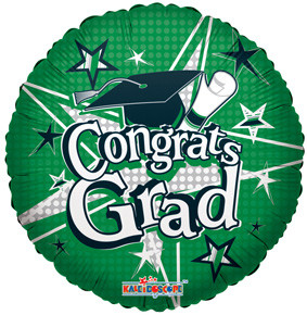 "18"" Congrats Grad Green Circle Balloon 1ct #85155"